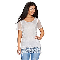 Quiz - White mesh short sleeve layer top