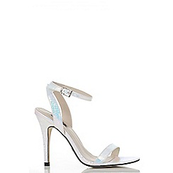 Quiz - Iridescent snake print barely there sandals