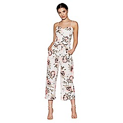 Quiz - Cream and coral floral print culotte jumpsuit