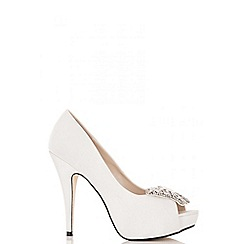 Quiz - White satin butterfly embellished court shoes