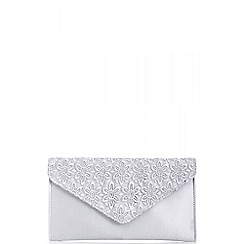 Quiz - Grey lace and satin clutch bag