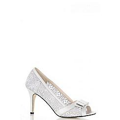 Quiz - Grey lace bow lace court heel shoes
