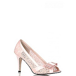 Quiz - Pink lace bow lace court heel shoes