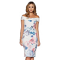 Quiz - Cream blue and pink floral print bardot bodycon dress