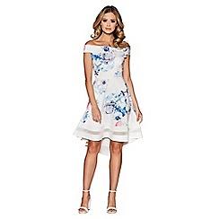Quiz - Cream blue and pink floral print bardot dip hem dress