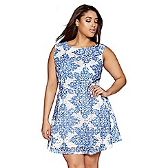 Quiz - Curve blue and white crochet paisley print skater dress