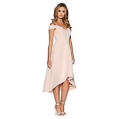 Quiz - Pink stripe sweetheart neck dip hem dress