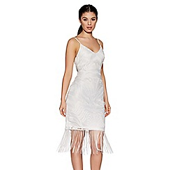 Quiz - White lace fringe hem midi dress