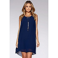 Quiz - Navy chiffon necklace tunic dress
