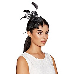 Quiz - Black bow curl fascinator