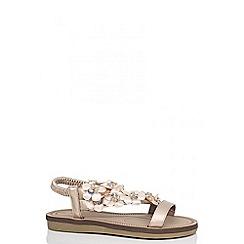 Quiz - Rose gold flower embellished strap sandals