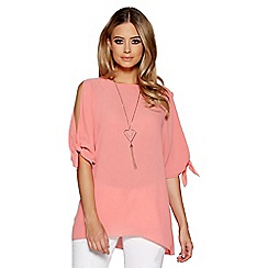 Quiz - Coral tie sleeves necklace bubble top