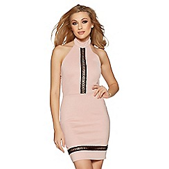 Quiz - Blush pink crochet detail bodycon dress