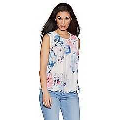 Quiz - Cream pink and blue floral print bubble top