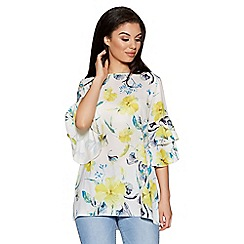 Quiz - Cream and lemon floral print frill sleeves top