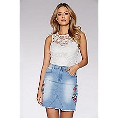 Quiz - Light blue embroidered denim skirt