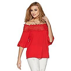 Quiz - Red crochet trim bardot top