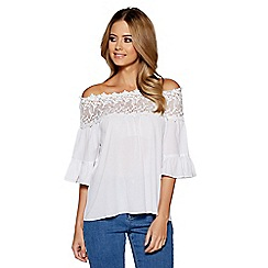 Quiz - White crochet trim bardot top