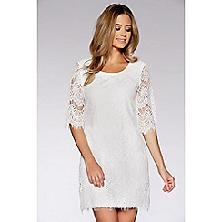 Quiz - White eyelash lace 3/4 sleeves midi dress
