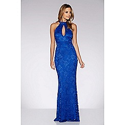 Quiz - Royal blue lace halter neck fishtail maxi dress