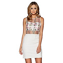 Quiz - White embroidered mesh bodycon dress