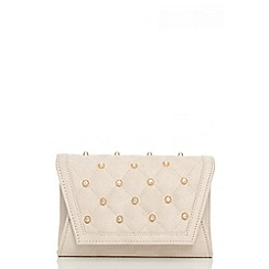 Quiz - Nude quilted studded messenger bag