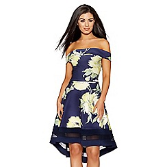 Quiz - Navy and yellow floral print bardot dip hem dress