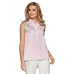 Quiz - Pink stripe embroidered sleeveless top
