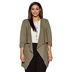Quiz - Curve khaki waterfall front 3/4 ruched sleeves jacket
