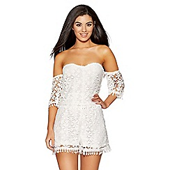 Quiz - White crochet bardot playsuit