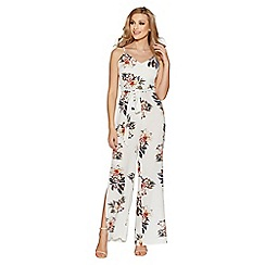 Quiz - Cream crepe floral split leg jumpsuit