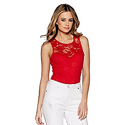 Quiz - Red lace sweetheart neck bodysuit