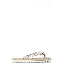 Quiz - Multi coloured floral print embellished sandals