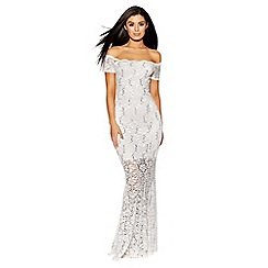 Quiz - Cream and gold sequin bardot fishtail dress