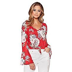 Quiz - Red floral print flute sleeves top