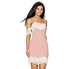 Quiz - Pink and cream lace trim midi dress