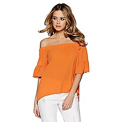 Quiz - Orange bardot frill top