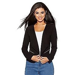 Quiz - Black zip detail short jacket