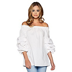 Quiz - White ruched sleeves bardot top