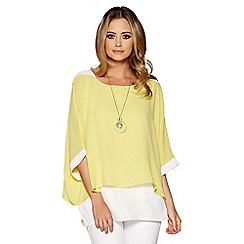Quiz - Lemon and cream double layer necklace top