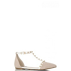 Quiz - Nude and white studded t-bar pumps