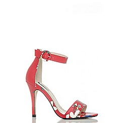 Quiz - Red blossom print barely there sandals
