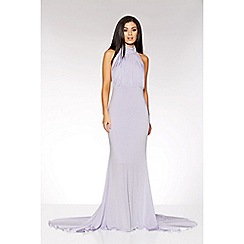 Quiz - Lilac pleated halter neck maxi dress