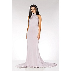 Quiz - Grey pleated halter neck maxi dress