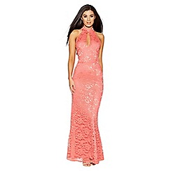 Quiz - Coral lace halter neck fishtail maxi dress