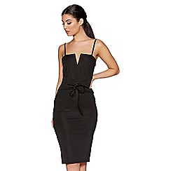 Quiz - Black corset detail bodycon midi dress