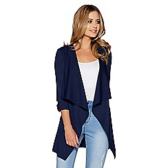 Quiz - Navy waterfall front 3/4 ruched sleeves jacket