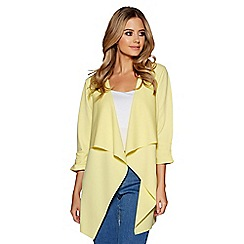 Quiz - Lemon waterfall front 3/4 ruched sleeves jacket