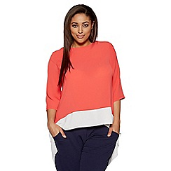 Quiz - Curve coral and cream chiffon contrast dip hem top