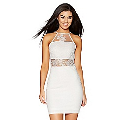 Quiz - White mesh embroidered high neck bodycon dress